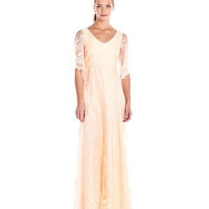 Donna Morgan Apricot Lace Maxi Gown Sz 2 NWT